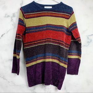 Vintage Striped Colorblock Chenille Sweater